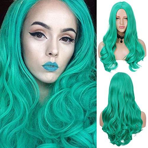 Moda cosplay verde peluca rizada mujeres aspecto natural