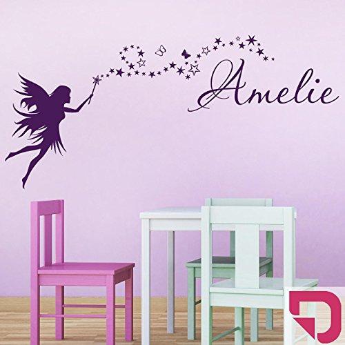 DESIGNSCAPE® Wandtattoo Fee mit Zauberstab und Name 120 x 55 cm (Breite x Höhe) pink DW808049-M-F28
