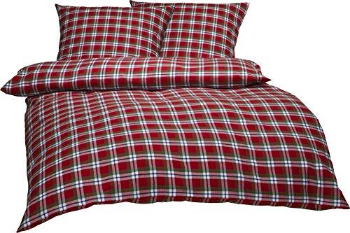 Bettwaesche-mit-Stil Warme Fein-Flanell Winter Bettwäsche Toronto Landhaus Karo Rot Grün Weiß Kariert (200 cm x 220 cm + 2 x 80 x 80)