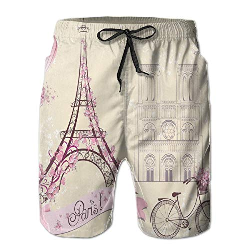 MIOMIOK Mens Beach Shorts Swim Trunks,Floral Paris Symbols Landmarks Eiffel Tower Hot Air Balloon Bicycle Romantic Couple,Summer Cool Quick Dry Board Shorts Bathing SuitL