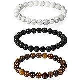 Aroncent Buddha Armband Armreif, 8mm Energie-Stein Kugeln Perlen Energiearmband für Damen und Herren, Schwarz/Braun/Weiß