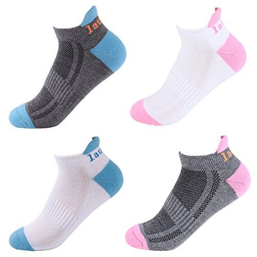 Laulax 4 pairs Ladies Professional Coolmax Running Socks, Achilles Tendon Protection, Size UK 3-8/Europe 36-42, Gift Box, White, Grey
