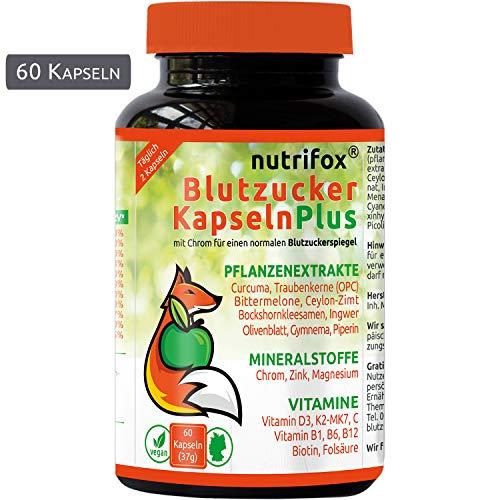 Nutrifox 60 Blutzucker Kapseln: 20 Pflanzenextrakte, Multivitamine & Mineralstoffe (z.B. Olivenblattextrakt, Traubenkernextrakt, Piperin, Magnesium, Vitamin D3+K2) ohne Magnesiumsalze, aus Deutschland