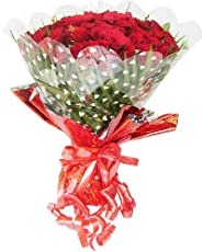 TIMELESS ROSES Hand Tied Bouquet Wrapped in Cellophane Packing with Green Fillers & Ferns (25 Red Roses)