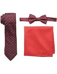 Nick Graham Men's Dot Grid Neck Tie, Herringbone Solid Bow Tie and Pocket Square Set