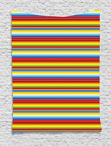 """TRUIOKO Abstract Tapiz, Rainbow Colored Lines Geometrical Mexican Blanket Pattern Latin Rican Culture, Wall Hanging for Bedroom Living Room Dorm Wall Tapiz Decor,80"""" X 60"""" Inches"""