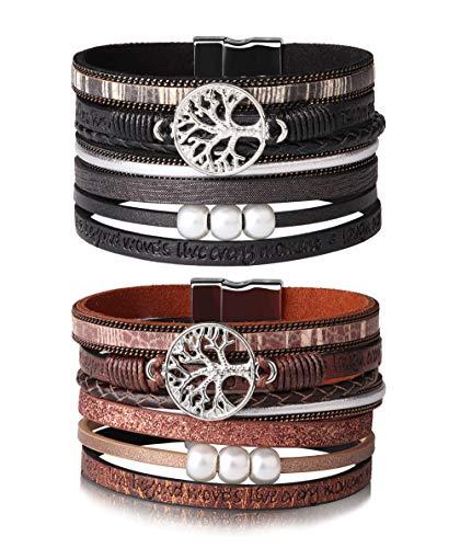 eecdd20599b8 Cuero pulsera árbol la vida para mujeres pulsera tejida pulseras perlas  vintage