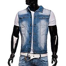 Herren Jeans-Weste · (ärmellos, Biker-Stil) Jeansweste im Used-Look mit leichter Waschung (Bleached) · H1304 von Jeansnet