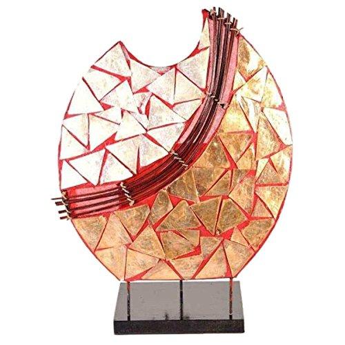 Deko-Leuchte Stimmungsleuchte Stehleuchte Tischleuchte Tischlampe Bali Asia PERLMUTT 36 cm Color Rot Rote Eisen-auf Stoff