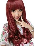 Lange lockige Perücke für Frauen Rote Haar-Webart