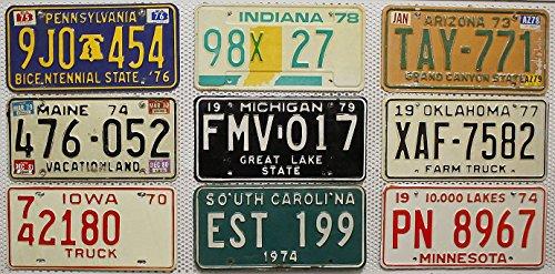 9 USA Nummernschilder als SET mit Oldtimer-Kennzeichen aus den 70er Jahren # US Vintage License Plates LOT # Historische AUTO-SCHILDER aus Nord-Amerika