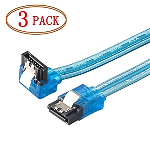 SATA Cable, VANDESAIL SATA III Cable 6GB (Straight to 90 Degree Plug) with Locking Latch For Hard Drive -3pack (20 inch-90°, SATA 3.0