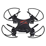 EC9169 Mini Nano Drone mit Fernbedienung FPV RC Quadcopter mit 0.3MP HD Altitude Hold Kamera 4CH mit LED-Lichtern 2.4G 6Axis Für Apple & Android automatische 360° Drehung   HEADLESS MODE (Schwarz)