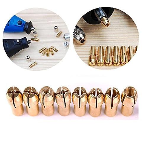 Soviton 10pcs Laiton Collet 1mm 1.6mm 2.3mm 3.2mm Outil rotatif pour Dremel perceuse