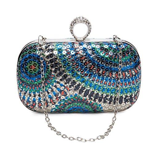 Pochette Elegante da Donna Diamante Paillettes Borsetta da Sera con Catena per Nozze Festa Partito, Oro Blu