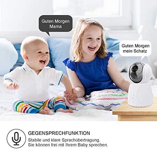 Bable Babyphone mit Kamera G1, 5 Zoll Großer Bildschirm Babyfon mit Fernbedienung Kamera, 300 Meter Signalreichweite, automatische Verfolgung, Ton und Temperaturalarm, Nachtsicht, Wiegenlied und Zweiwege Audio - 5