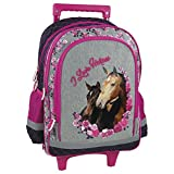 Cheval grand sac a roulettes trolley sac dos cartable école Horses Pony Poney