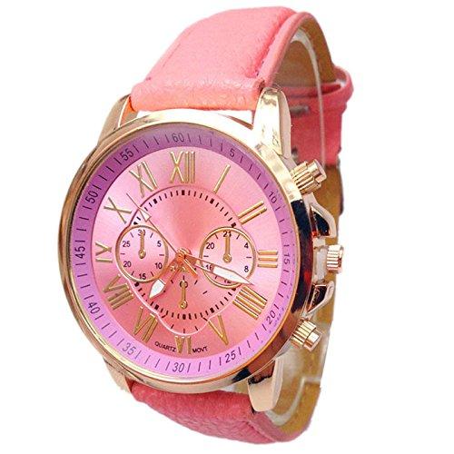 SUNNSEAN Uhr,2018 Frauen Stilvolle Ziffern Kunstleder analoge Quarz-Armbanduhr (Rosa)