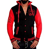 Rusty Neal R-Neal Hoodie Oldschool Kapuzen College Jacke Sweatjacke 6876-1, Farbe:Schwarz/Rot;Größen:M