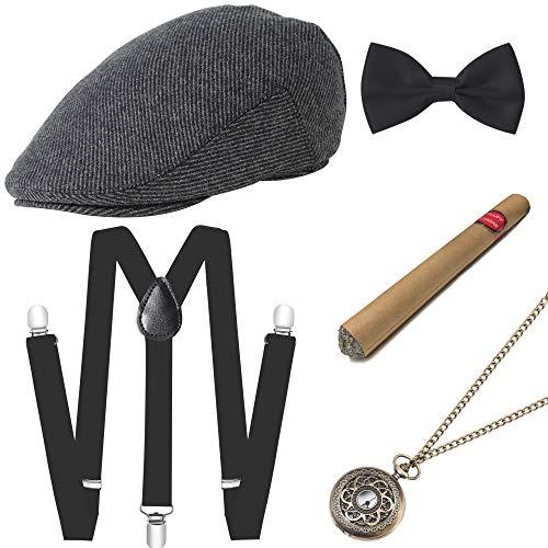 ArtiDeco 1920s Herren Accessoires Mafia Gatsby Kostüm Set Inklusive Panama Gangster Hut Verstellbar Elastisch Hosenträger Herren Halsschleife Fliege Taschenuhr und Plastik Zigarre (Set-4) (Große Gatsby Kostüm Männer)