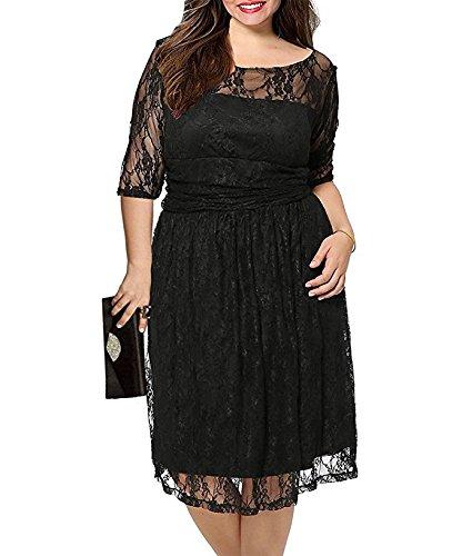 Aneledy Damen Elegant Revers Cocktail Kleid Plus Größe Kleid Abendkleid besonderen Anlass, Gr. EU 48/50(Herstellergroesse:2X),Schwarz