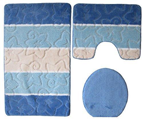 3- teilig Badgarnitur blau gestreift 80 x 50cm Badset Badematten Badteppich Stand-WC