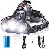 AVAWAY Profi LED Stirnlampe Super Hell LED Kopflampe Scheinwerfer, 4 Helligkeite & Wiederaufladbar (A)