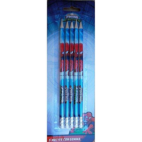 Blister 5 Marvel Spiderman Crayon avec Caoutchouc - JK2116