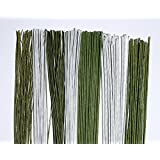 Alambres de Floristería/Sugarcraft Wires–14Juegos de cables en 7distintos calibres en blanco y verde (7Calibres en blanco y 7Calibres en verde)