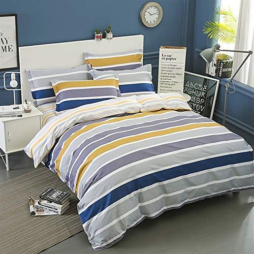 UOUL Bettwäscheset Baumwolle 4-TLG. Verblasst Nicht Komfort Graue Streifen Kariertes Jugendzimmer Für Studenten Im Schlafsaal XL Twin,Stripe-1,XL Full
