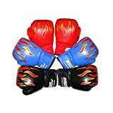 Kinder Boxhandschuhe mit Klettschluss Klein Box-Handschuhe für Kinder von 3 - 10 Jahre Training Gloves 6 Unzen zum MMA, Muay Thai, Kickboxen und Sandsack sport - Rot/Schwarz/Blau/Weiß