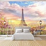 Fotomurali Torre di Parigi - Carta da parati sulla fliselina Fotomurali in Murale alla Decorazione da Muro Poster Gigante Design Carta 200cm(W) x140cm(H)-4 Stripes