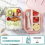 YWXFX Baispo Lunch Box Box Pranzo in microonde per Bambini Contenitore e Contenitore per Alimenti Scuola di stoccaggio Cucina a Tenuta stagna Riscaldamento Rosa Set 2 Cinturini_800 ml