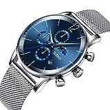 Herren Uhren Herren Luxus Chronograph Wasserdichte Mesh Analog Quarz Uhr mit Blau Zifferblatt Business Datum Kalender Mondphase Mode Designer Kleid Sport Armbanduhren für Männer