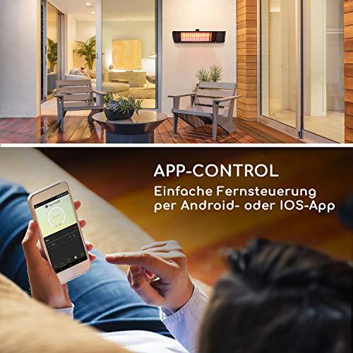 blumfeldt Gold Fever Smart • Infrarot-Heizstrahler • Terrassenheizstrahler • 2000 W • 6 Wärmestufen • Infrarot • Bluetooth • App-Control • bis 20 m² • inkl. Fernbedienung und Wandhalterung • schwarz - 4