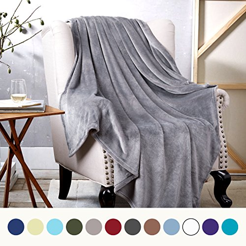 Flannel Fleece Throw Blankets Silver Grey - Super Soft Fluffy Warm Solid Bed Throws for Sofa - Luxury Microfiber blanket 130x150cm by Bedsure