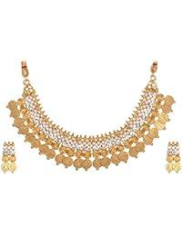 Reeti Fashions Gold Metal Choker Necklace Set For Women (RF17_10B_35)