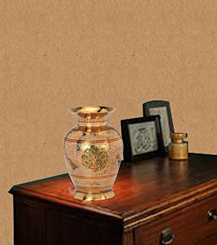 Zahab Mini Gold Pot Hand Carving Peacock Design 6inches Brass Flower Vase, Perfect for Home Decor, Gifting  available at amazon for Rs.699