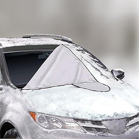 AUTO FRONTSCHEIBENABDECKUNG - Der perfekte Schutz für die Windschutzscheibe gegen Schnee, Eis, Frost und Sonne - Magnet-Fixierung - 145x188 cm groß, passt zu grossen PKWs, SUVs und Minivans (nicht für Kleinwagen geeignet) - mit GARANTIE