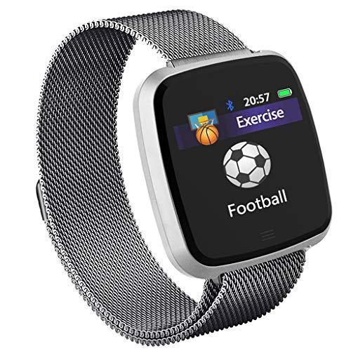 OPALLEY G12 Stahlband Intelligente Uhr Android Ios Pulsmesser Sport Schrittzähler Schlaf Monitor Fitness Tracker Musik Player Farbdisplay Smartuhr