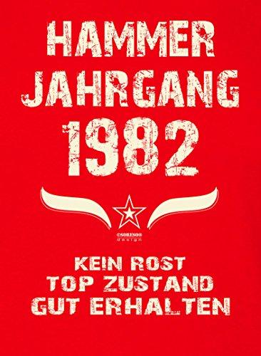 Damen-Kurzarm-T-Shirt Girlieshirt Geschenk-Idee zum 35. Hammer Jahrgang 1982 Geburtstag Geburtstagsgeschenk :-: Farbe: rot Rot