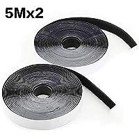 Cinta de Velcro,LAviaes Cinta Adhesiva de Doble Cara,5M Autoadhesivo Reutilizable Resistente Cinta de Gancho y Lazo (Negro)