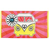 Bandera de Hippy - 90 x 150 cm | Póster Años 70 | Decoración Vendimia VW | Accesorio Fiesta Hippie