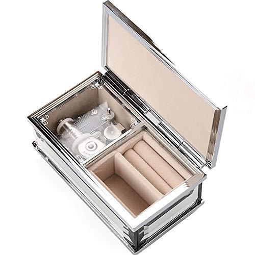 Glasspiegel Musical Jewelry Box for Mädchen überzogene Silberne Spieluhr Kinder Schmuckschatullen Rechteck Trinket-Aufbewahrungsbehälter mit Uhrwerk Schlüssel for Female Geschenke
