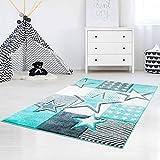 carpet city Kinderteppich Hochwertig mit Sternen-Muster in Pastell-Türkis mit Konturenschnitt, Glanzgarn für Kinderzimmer Größe 160/230 cm