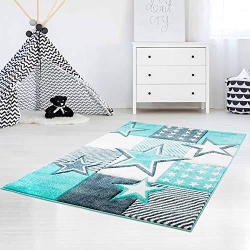 carpet city Kinderteppich Hochwertig mit Sternen-Muster in Pastell-Türkis mit Konturenschnitt, Glanzgarn für Kinderzimmer Größe 120/170 cm