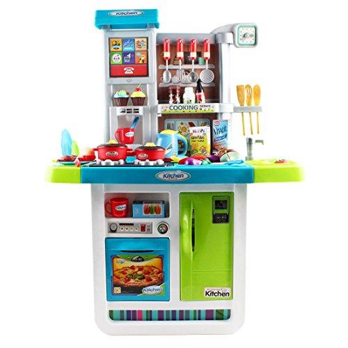 Deao my little chef cucina playset con suoni, pannello touchscreen e caratteristiche d'acqua - più di 40 accessori inclusi (blu)
