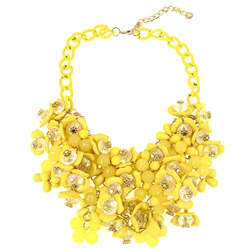 Sammlung Kostüm Stammes - Mode Schmuck Mädchen Cluster Gelb Blume Perlen Lätzchen Erklärung Klobig Halskette für Frauen
