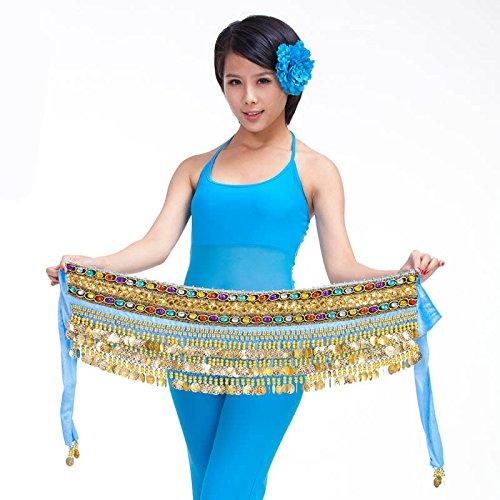 3rangées Belly Dance Hip Écharpe Wrap ceinture Jupe danseuse pour pièces Style 8