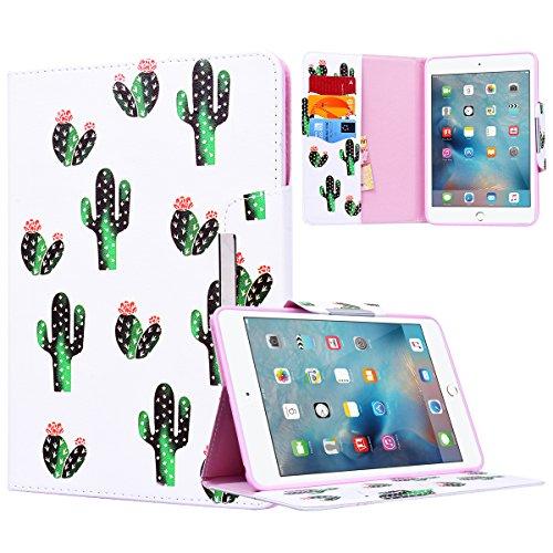 Yokata Apple iPad Mini 1 / Mini2 / Mini3 Hülle Case Schutzhülle Tasche mit Standfunktion und Auto Sleep / Wake Up Funktion Slim Ultra Dünn Hochwertiges PU Leder Etui Ledertasche für iPad Mini 1 / Mini2 / Mini3 (7,9 Zoll) Tablet Etui - Kaktus